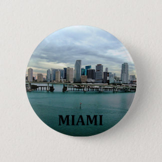Miami Florida Skyline Pinback Button