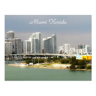Beach Themed Miami Florida, Skyline, Tall buildings, Bridge Postcard