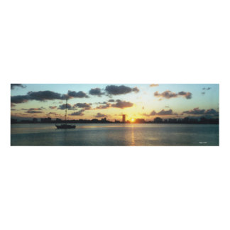 Miami, Florida Sunset Boat Panel Wall Art
