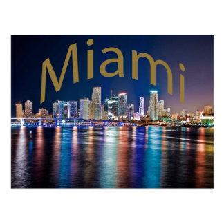 Miami, Florida, The Magic City at night. Postcard