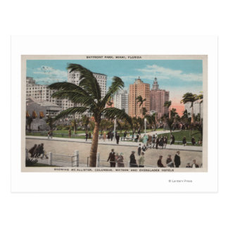 Miami, Florida - View of Bayfront Park & Hotels Postcard