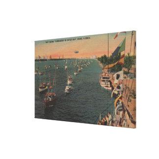 Miami, Florida - View of Fishing Canvas Print