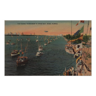 Miami, Florida - View of Fishing Print