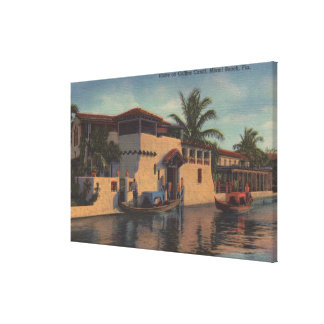 Miami, Florida - View of House on Collins Canal Stretched Canvas Print