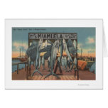 Miami, Florida - View of Pier 5 with Caught Fish Greeting Cards