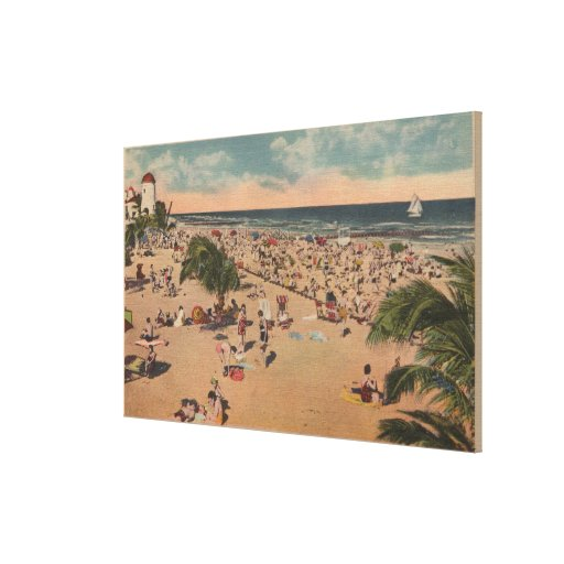 Miami, Florida - View of Sunbathers at Miami Stretched Canvas Print