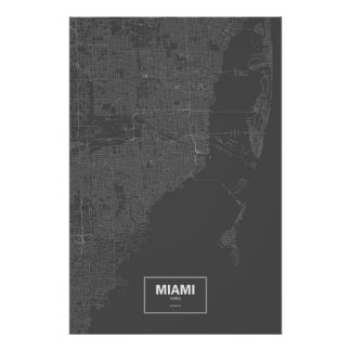 Miami, la Florida (blanca en negro) Póster
