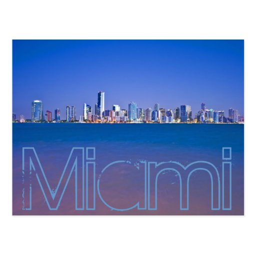 Miami, la Florida, la ciudad mágica en el amanecer Tarjeta Postal