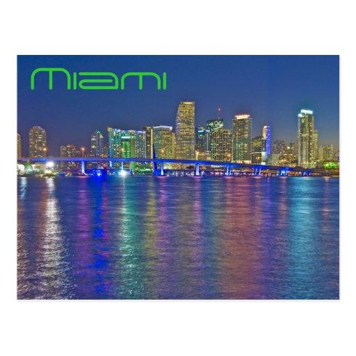 Miami, la Florida, la ciudad mágica en la oscurida Postales
