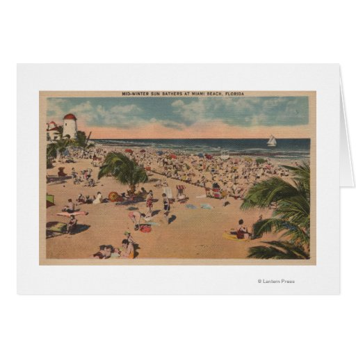 Miami, la Florida - opinión Sunbathers en Miami Tarjeta