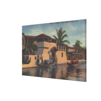 Miami, la Florida - vista de la casa en el canal d Impresión En Lienzo