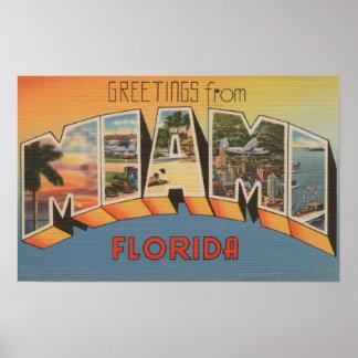 Miami, letra ScenesMiami, FL 2 de FloridaLarge Póster