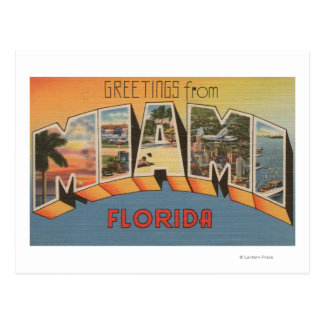 Miami, letra ScenesMiami, FL de FloridaLarge Tarjetas Postales