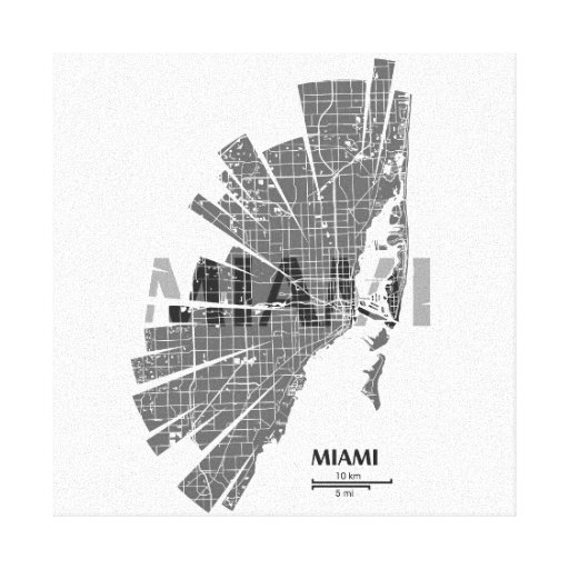 Miami Map Wrapped Canvas Gallery Wrap Canvas