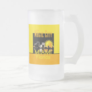 MIAMI 16 OZ FROSTED GLASS BEER MUG