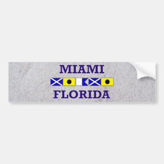 Miami Nautical Flag - Sand Bumpersticker Bumper Sticker