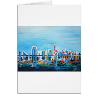 Miami Neon Skyline Waterline Card