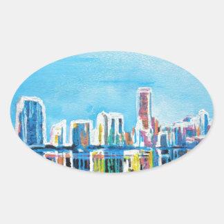 Miami Neon Skyline Waterline Oval Sticker