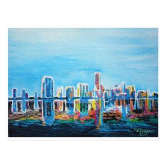 Miami Neon Skyline Waterline Postcard