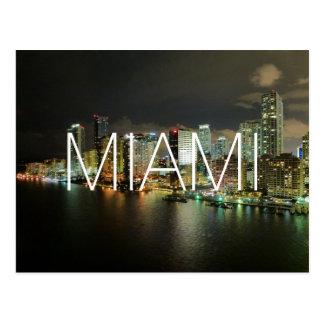 Miami night city skyline travel photograph Florida Postcards