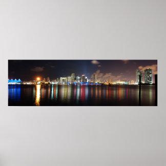 Miami night panorama - Poster