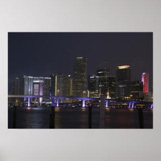 Miami Night Skyline Poster