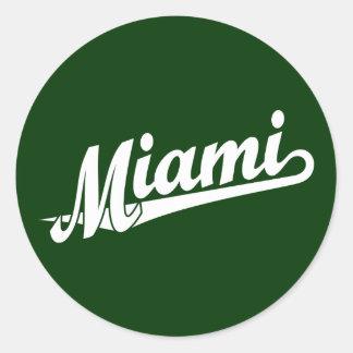 Miami script logo in white classic round sticker