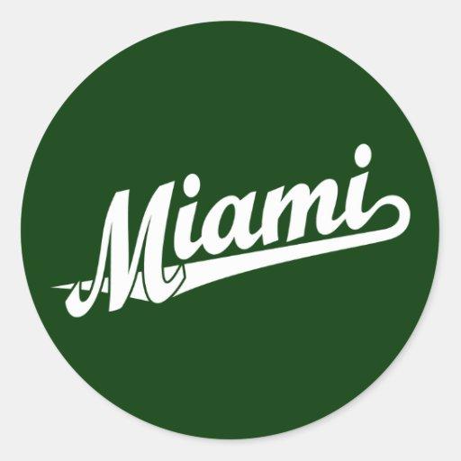 Miami script logo in white round stickers