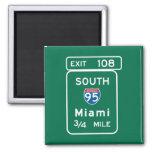 Miami, señal de tráfico de FL Imán Cuadrado