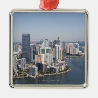 Miami Skyline 3 Square Metal Christmas Ornament