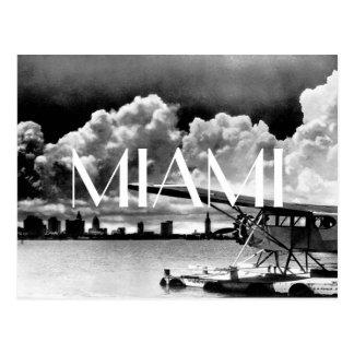 Miami skyline airplane black and white photo postcard