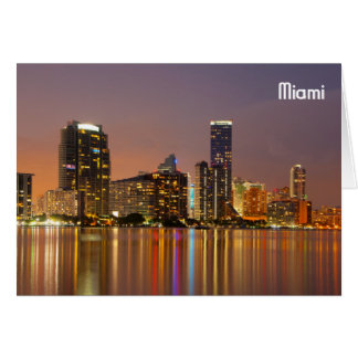 Miami Skyline at Dusk Card