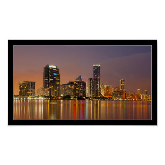 Miami Skyline at Dusk Panorama Poster