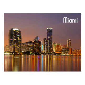 Miami Skyline at Dusk Postcard