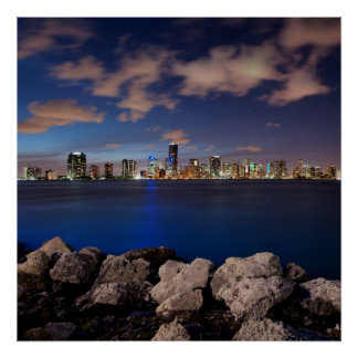 Miami Skyline at Dusk Poster