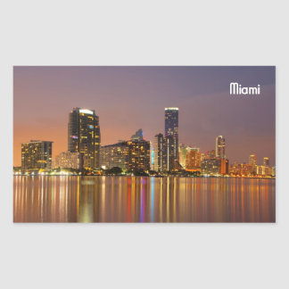 Miami Skyline at Dusk Rectangle Sticker