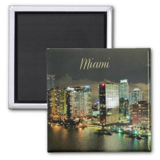 Miami Skyline at Night 2 Inch Square Magnet