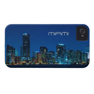 Miami skyline at night iPhone 4 Case-Mate case