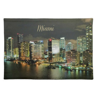 Miami Skyline at Night Cloth Placemat