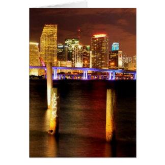 Miami skyline at night Florida Greeting Card
