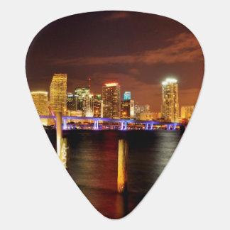 Miami skyline at night, Florida Guitar Pick