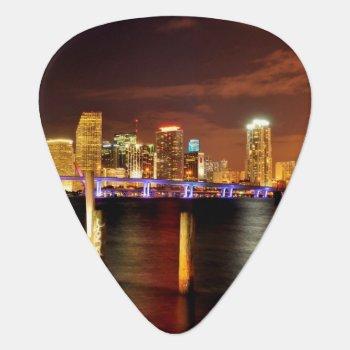 Miami Skyline At Night  Florida Guitar Pick by iconicmiami at Zazzle