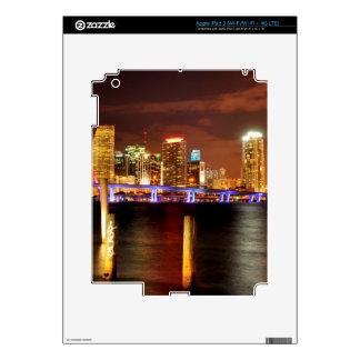 Miami skyline at night, Florida iPad 3 Decal