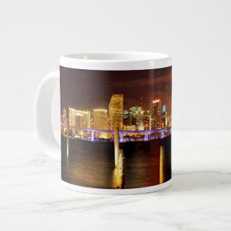 Miami skyline at night, Florida Large Coffee Mug