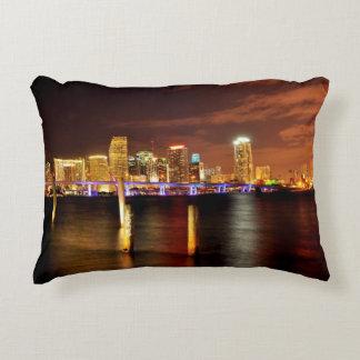Miami skyline at night, Florida Accent Pillow