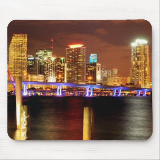 Miami skyline at night, Florida Mouse Pad