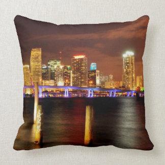 Miami skyline at night, Florida Throw Pillows