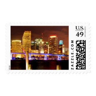 Miami skyline at night, Florida Postage Stamp