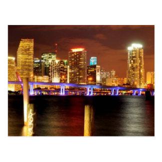 Miami skyline at night Florida Postcard