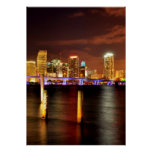 Miami skyline at night, Florida Poster